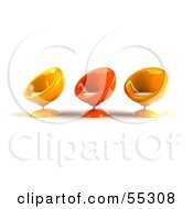 Royalty Free RF Clipart Illustration Of Three Yellow And Orange 3d Bubble Chairs Facing Left