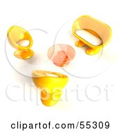 Royalty Free RF Clipart Illustration Of A View Down On Yellow 3d Bubble Chairs A Coffee Table And Sofa Version 1