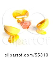 Royalty Free RF Clipart Illustration Of A View Down On Yellow 3d Bubble Chairs A Coffee Table And Sofa Version 2