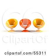 Royalty Free RF Clipart Illustration Of Three Yellow And Orange 3d Bubble Chairs Facing Front