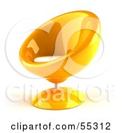 Royalty Free RF Clipart Illustration Of A 3d Yellow Bubble Chair Facing Left by Julos