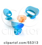Royalty Free RF Clipart Illustration Of A View Down On Blue 3d Bubble Chairs A Coffee Table And Sofa Version 1