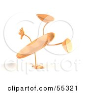 Royalty Free RF Clipart Illustration Of A 3d Baguette Bread Character Doing A Cartwheel Version 2