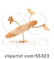 Royalty Free RF Clipart Illustration Of A 3d Baguette Bread Character Doing A Cartwheel Version 1