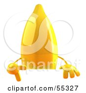 3d Yellow Banana Character Giving A Peace Gesture And Standing Behind A Blank Sign by Julos