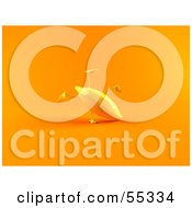 Royalty Free RF Clipart Illustration Of A 3d Yellow Banana Character Doing A Cartwheel Version 2 by Julos