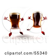 Royalty Free RF Clipart Illustration Of Two 3d Root Beer Characters Leaping Version 1 by Julos