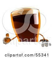 Royalty Free RF Clipart Illustration Of A 3d Root Beer Character Giving The Thumbs Up And Standing Behind A Blank Sign