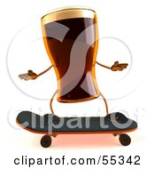 Royalty Free RF Clipart Illustration Of A 3d Root Beer Character Skateboarding Version 1