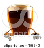 Royalty Free RF Clipart Illustration Of A 3d Root Beer Character Gesturing A Peace Sign And Standing Behind A Blank Sign