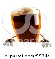 Royalty Free RF Clipart Illustration Of A 3d Root Beer Character Standing Behind A Blank Sign