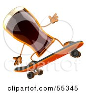 Royalty Free RF Clipart Illustration Of A 3d Root Beer Character Skateboarding Version 2