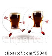 Royalty Free RF Clipart Illustration Of Two 3d Root Beer Characters Leaping Version 2