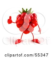 Royalty Free RF Clipart Illustration Of A 3d Red Raspberry Character Giving The Thumbs Up Version 1