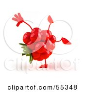Royalty Free RF Clipart Illustration Of A 3d Red Raspberry Character Doing A Cartwheel Version 1 by Julos