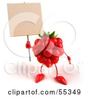 Royalty Free RF Clipart Illustration Of A 3d Red Raspberry Character Holding Up A Blank Sign Version 1 by Julos