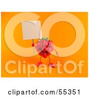 Royalty Free RF Clipart Illustration Of A 3d Red Raspberry Character Holding Up A Blank Sign Version 2 by Julos