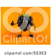 Royalty Free RF Clipart Illustration Of A 3d Blackberry Character Giving The Thumbs Up Version 2 by Julos
