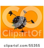 Royalty Free RF Clipart Illustration Of A 3d Blackberry Character Doing A Cartwheel Version 2 by Julos