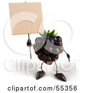 Royalty Free RF Clipart Illustration Of A 3d Blackberry Character Holding Up A Blank Sign Version 1 by Julos