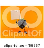 Royalty Free RF Clipart Illustration Of A 3d Blackberry Character Holding Up A Blank Sign Version 3 by Julos
