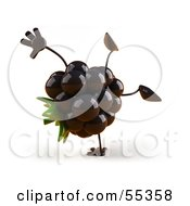 Royalty Free RF Clipart Illustration Of A 3d Blackberry Character Doing A Cartwheel Version 1 by Julos