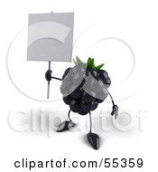 Royalty Free RF Clipart Illustration Of A 3d Blackberry Character Holding Up A Blank Sign Version 2 by Julos