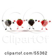 Royalty Free RF Clipart Illustration Of A Group Of Jumping 3d Raspberry And Blackberry Characters Version 1