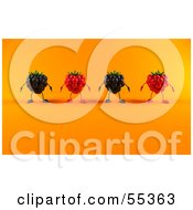Royalty Free RF Clipart Illustration Of A Row Of 3d Raspberry And Blackberry Characters Version 2 by Julos