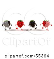 Royalty Free RF Clipart Illustration Of A Group Of Walking 3d Raspberry And Blackberry Characters Version 1 by Julos