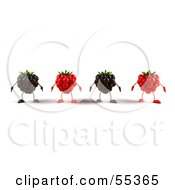 Royalty Free RF Clipart Illustration Of A Row Of 3d Raspberry And Blackberry Characters Version 1 by Julos
