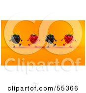 Royalty Free RF Clipart Illustration Of A Group Of Walking 3d Raspberry And Blackberry Characters Version 2 by Julos