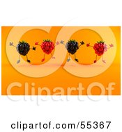 Royalty Free RF Clipart Illustration Of A Group Of Jumping 3d Raspberry And Blackberry Characters Version 2 by Julos