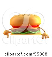3d Cheeseburger Character Gesturing Peace And Standing Behind A Blank Sign