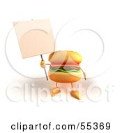 3d Cheeseburger Character Holding Up A Sign On A Post - Version 3