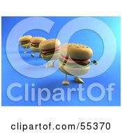 3d Cheeseburger Characters In A Line Walking Forward - Version 2