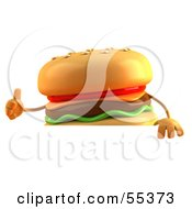 3d Cheeseburger Character Giving The Thumbs Up And Standing Behind A Blank Sign