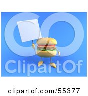 3d Cheeseburger Character Holding Up A Sign On A Post - Version 1