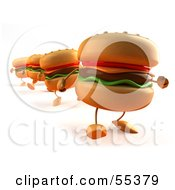 3d Cheeseburger Characters In A Line Walking Forward - Version 1