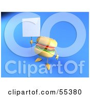3d Cheeseburger Character Holding Up A Sign On A Post - Version 2
