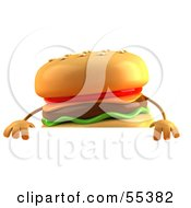 3d Cheeseburger Character Standing Behind A Blank Sign