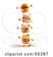 3d Cheeseburger Characters Standing On Top Of Each Other - Version 1