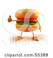 Royalty Free RF Clipart Illustration Of A 3d Cheeseburger Character Giving The Thumbs Up Version 1 by Julos