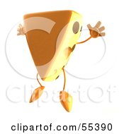Royalty Free RF Clipart Illustration Of A 3d Cheese Wedge Character Jumping Version 1