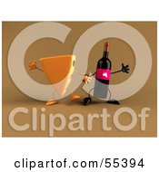 3d Cheese Wedge And Wine Bottle Characters Holding Hands - Version 2