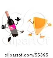 Royalty Free RF Clipart Illustration Of 3d Cheese Wedge And Wine Bottle Characters Jumping Version 1 by Julos