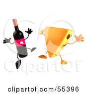 Royalty Free RF Clipart Illustration Of 3d Cheese Wedge And Wine Bottle Characters Jumping Version 2 by Julos