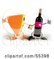 Royalty Free RF Clipart Illustration Of 3d Cheese Wedge And Wine Bottle Characters Holding Hands Version 1 by Julos
