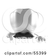 Royalty Free RF Clipart Illustration Of A 3d Chefs Hat Character With A Mustache Pointing Down And Standing Behind A Blank Sign