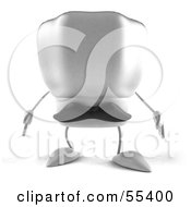 Royalty Free RF Clipart Illustration Of A 3d Chefs Hat Character With A Mustache Facing Front Version 1
